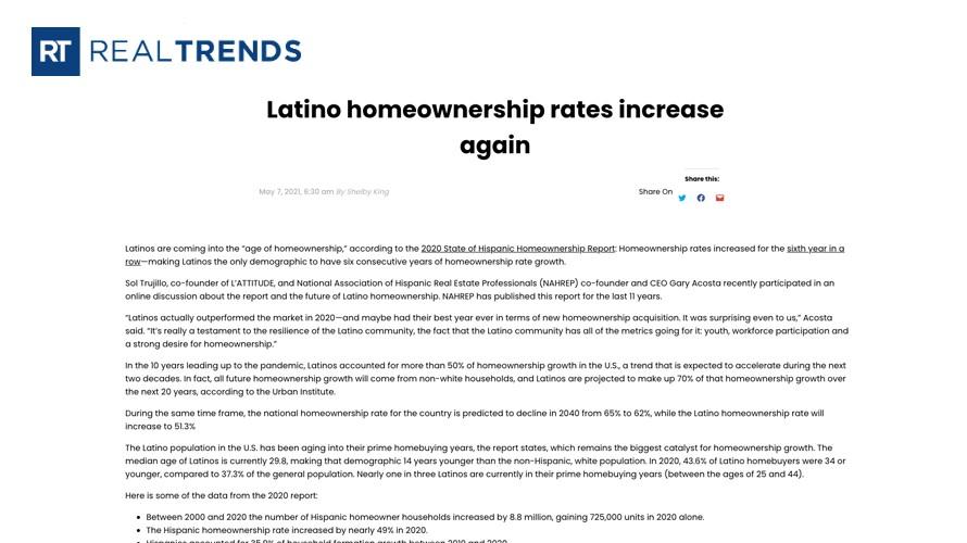 Latino Homeownership Rates Increase Again